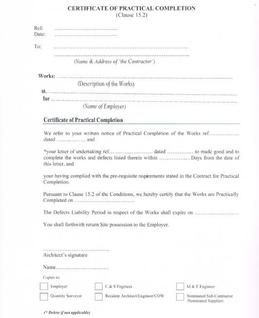 Practical Completion Certificate Template Jct