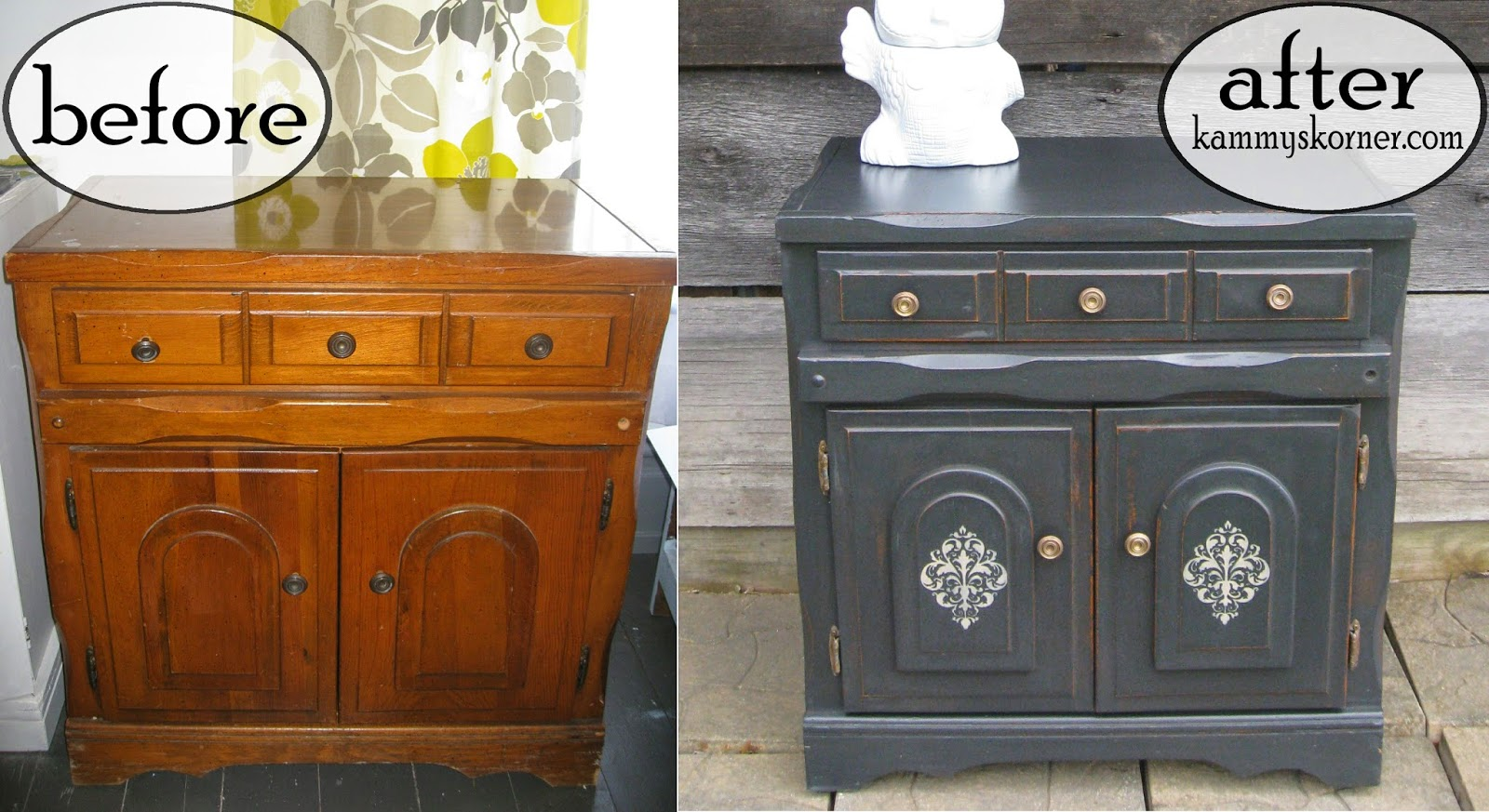Charcoal Black Cabinet Distressed Chalk Paint How