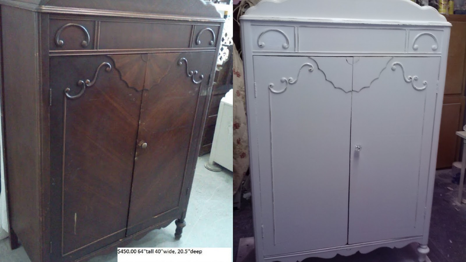 Vintage Armoire Painted Off White With Shelves Inside