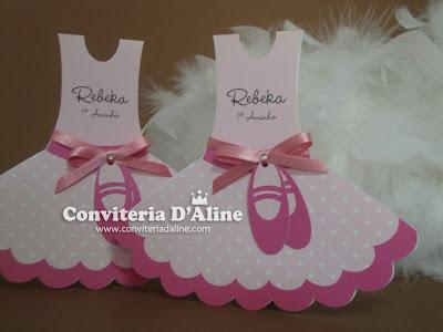 convite infantil bailarina rosa