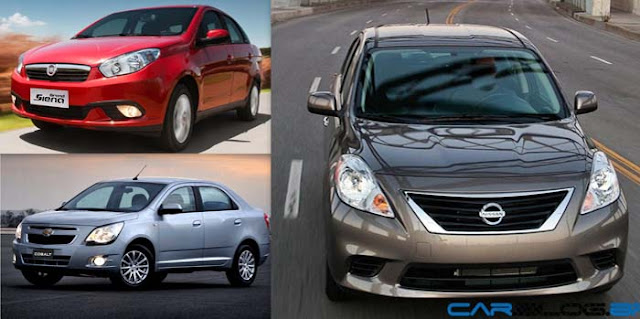 Fiat Grand Siena x Chevrolet Cobalt x Nissan Versa