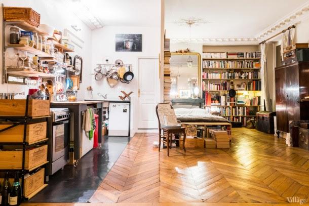 vista de la cocina y dormitorio estudio en parís