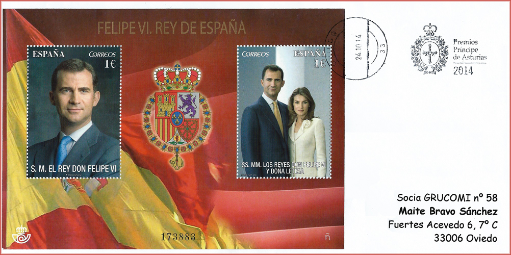 Pliego de los Reyes con el rodillo de los Premios Príncipe de Asturias