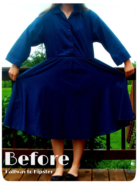 Thrifted Navy Dress Refashion