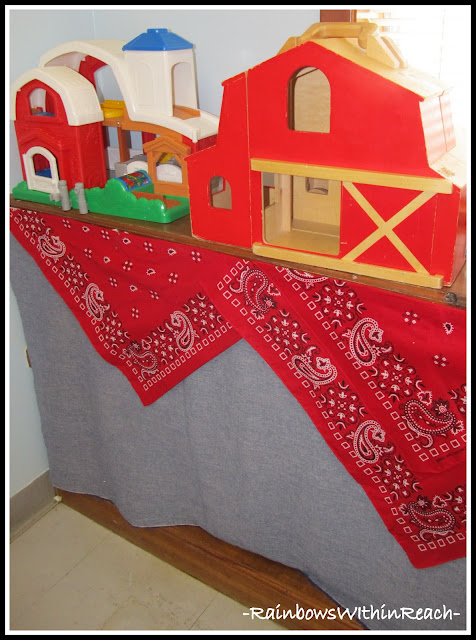 "photo of: Western Theme in Preschool with Curtain to ""hide"" Materials (Classroom Organization via RainbowsWIthinReach)"