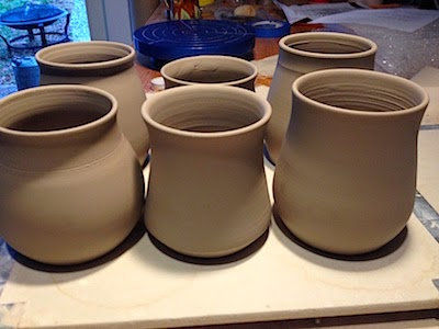 Fresh Pottery Mugs in Progress by Lori Buff