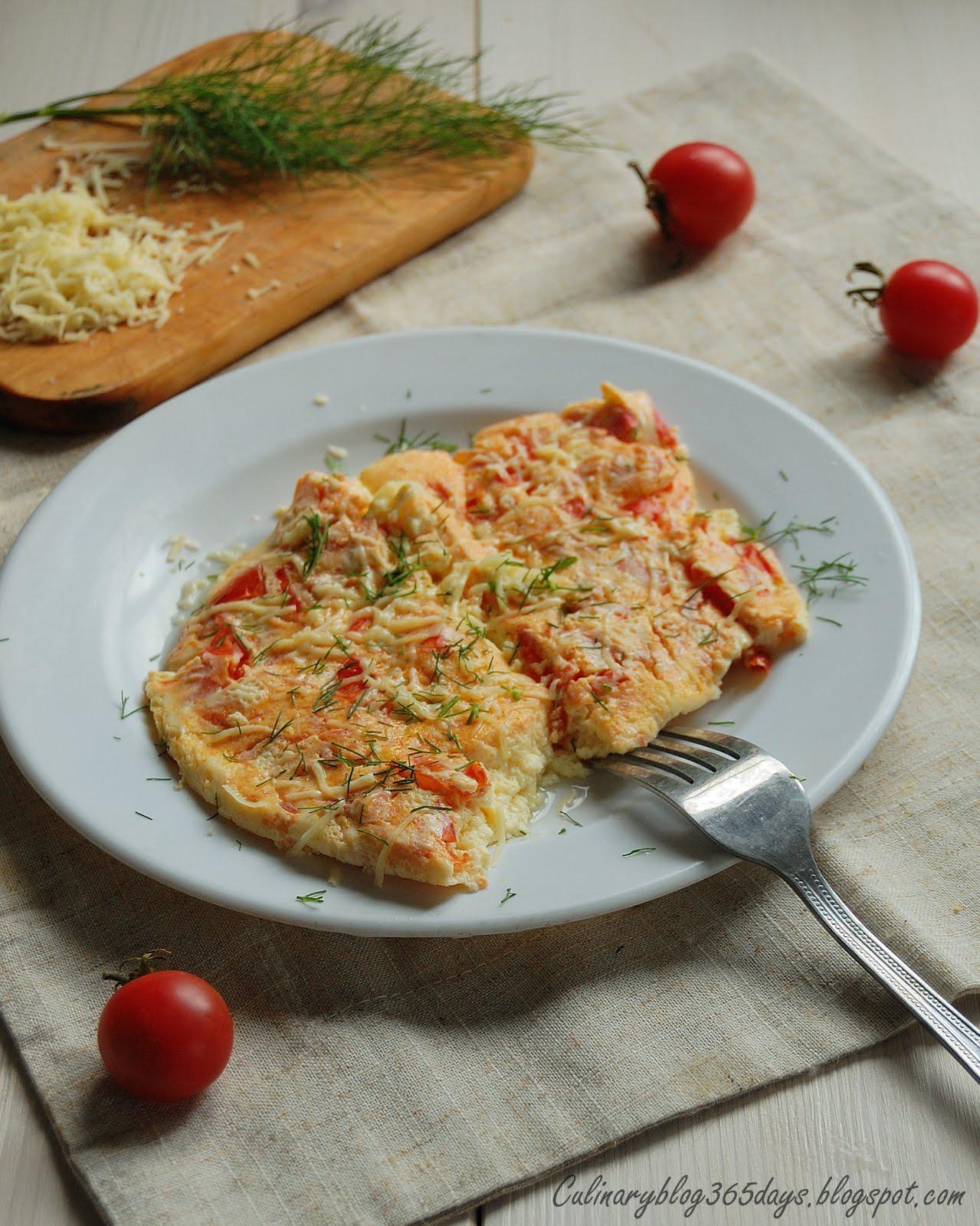 Омлет с помидорами и сыром рецепт пошагово