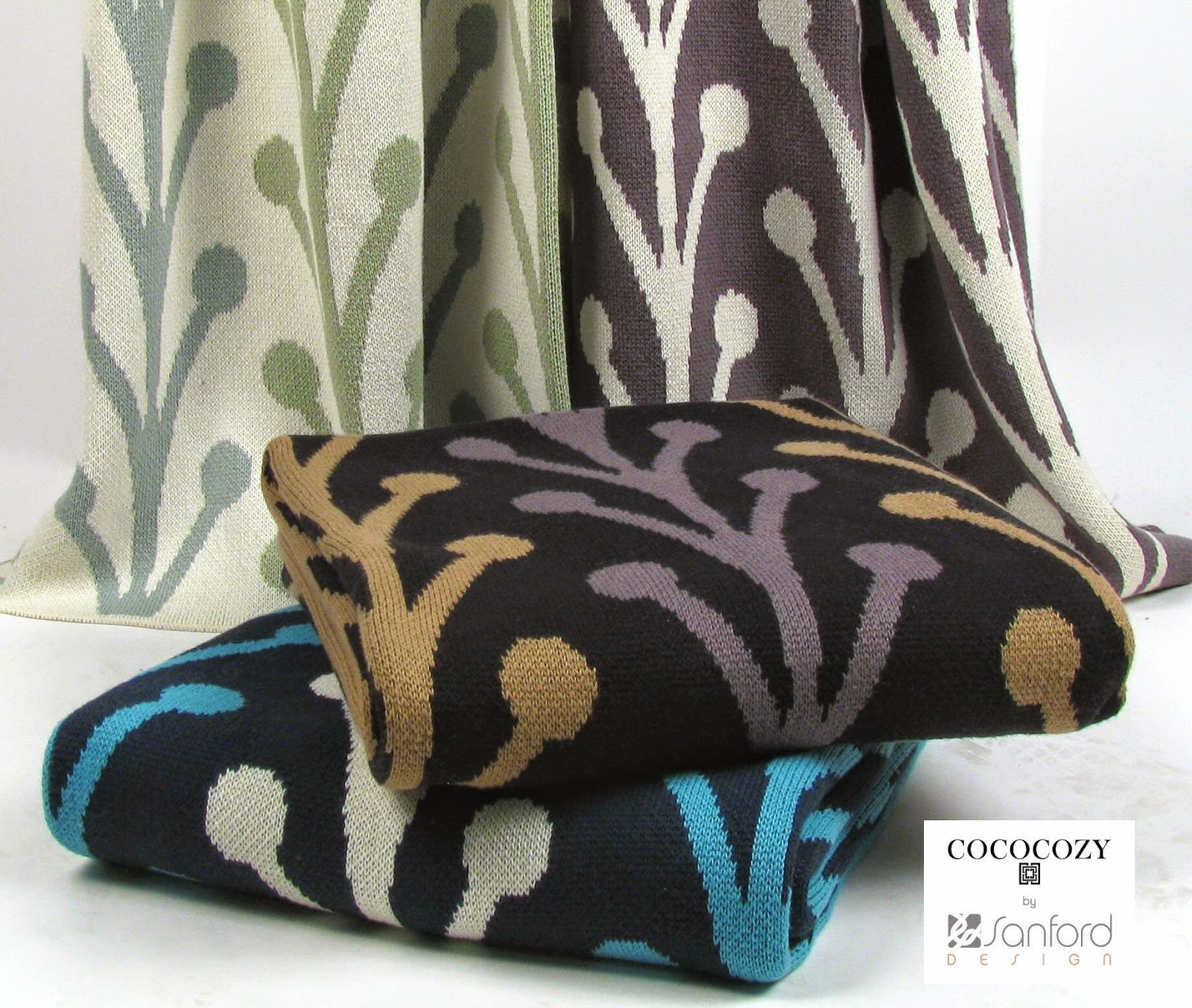 COCOCOZY throw blankets throws Vine pattern blue green