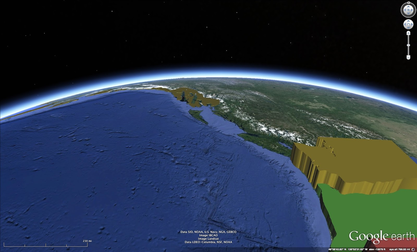 U.S. population density shown in Google Earth