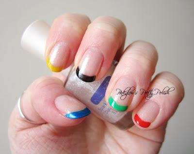 Olympic Ring Inspired Nail Art