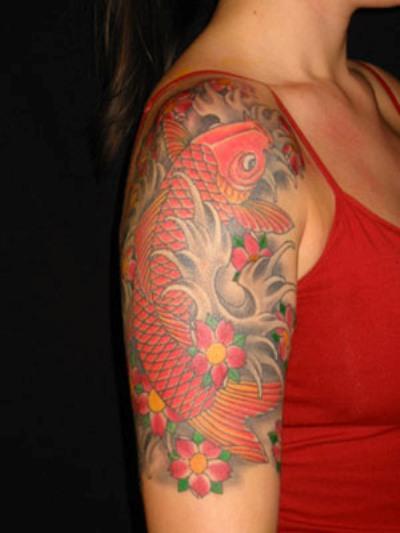 O2 mobile phones 25 charming behind the ear tattoo pics for Female koi fish