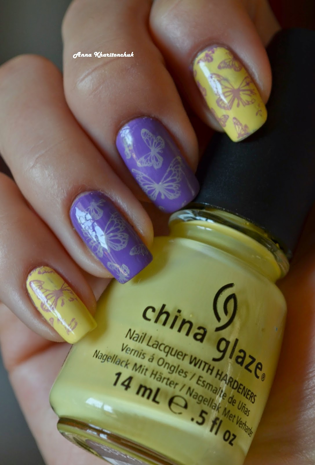 Дуэт China Glaze Lemon Fizz и E.L.F. Likac + стемпинг Lesly