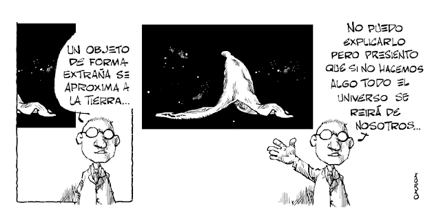 cientifico anunciando la llegada de un objeto de la estratosfera
