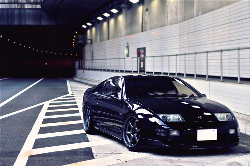 Nissan Fairlady Z, 300ZX, Z32, japoński sportowy samochód, V6 twin turbo, ciekawe coupe, kultowe samochody, noc, tunel, zdjęcia, JDM, czarny, black