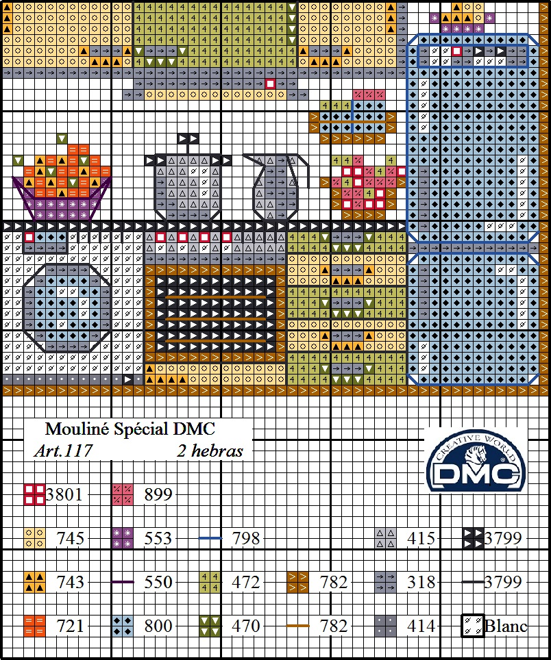 El blog de dmc diagrama casa punto de cruz la cocina - Punto de cruz cocina ...