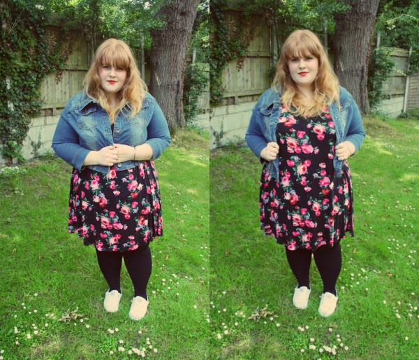 plus size fashion, plus size fashion blog, fashion and beauty blog, joe browns cropped denim jacket, swing dress