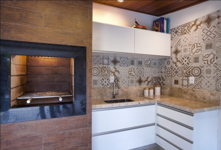 Construindo Minha Casa Clean Varandas Gourmet Modernas com Churrasqueir -> Nicho Banheiro Bege Bahia