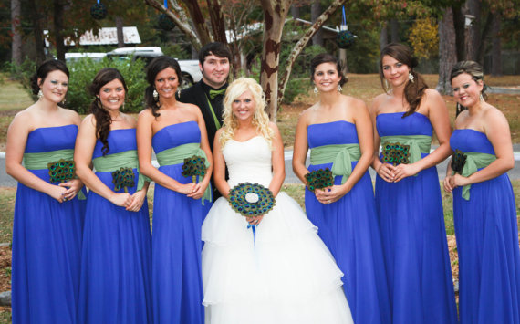 And The Bride Carried Peacock Feathers As Well Ashley Didnt Forget See Her Bridal Bouquet Made With Crystals Perfect
