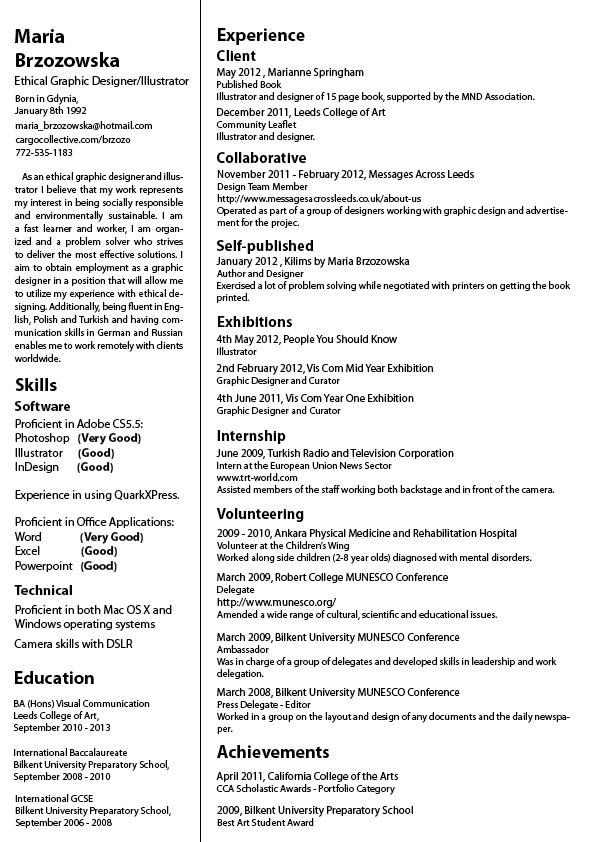 Curriculum Vitae  How Many Pages Should A Resume Be