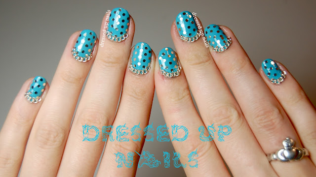 Dressed Up Nails - glitter polka dots and chains nail art with Maybelline Turquoise Paradise