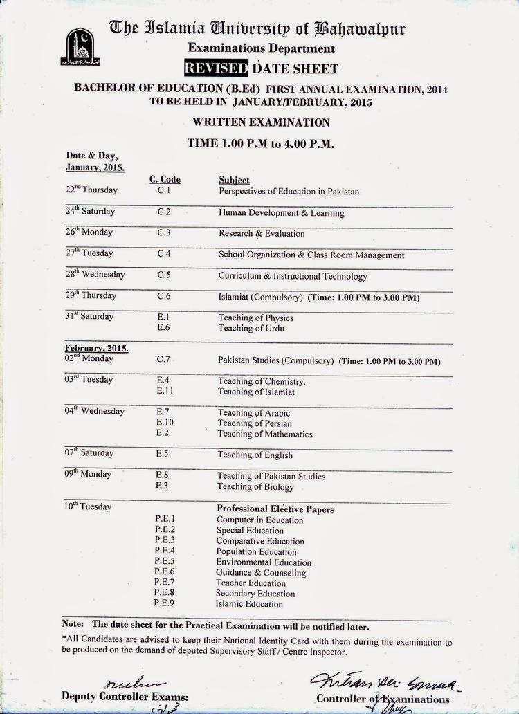Islamia University Bahawalpur B.ED Annual Date Sheet 2014 15