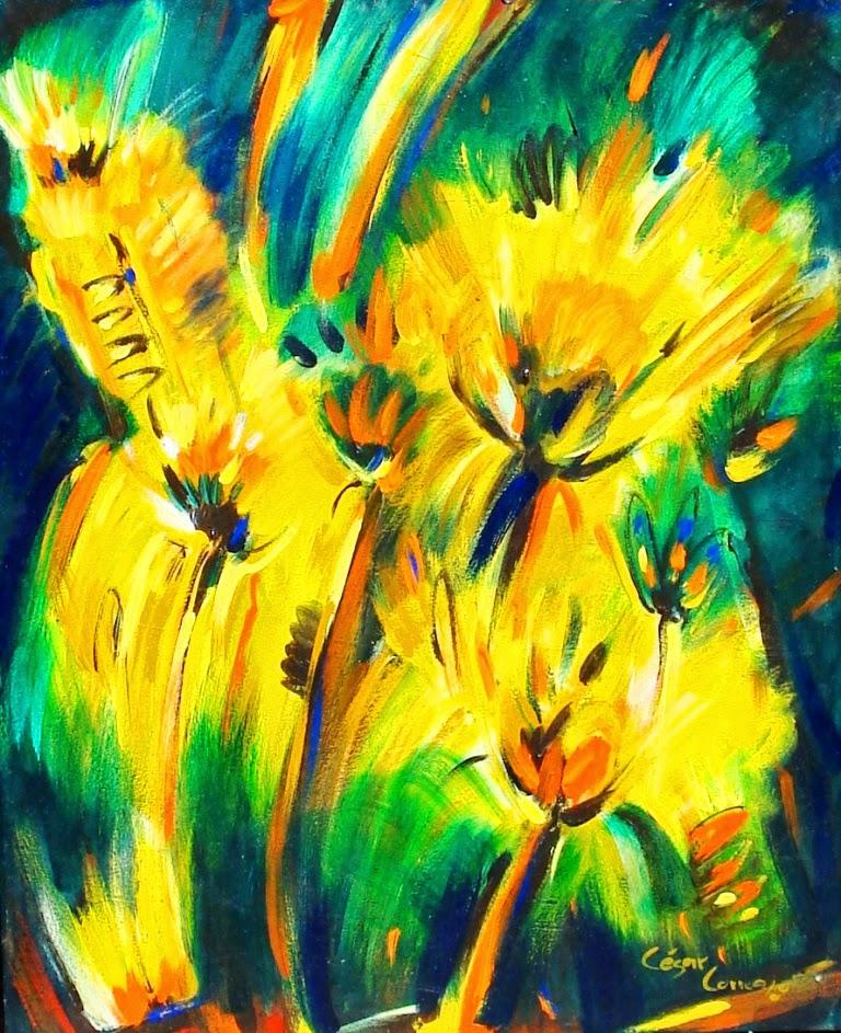 cuadros-al-oleo-de-flores-girasoles