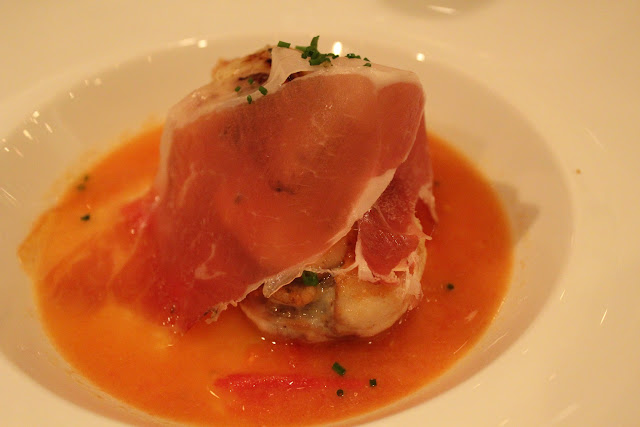 Prosciutto di Parma over monkfish osso buco at Meritage, Boston, Mass.