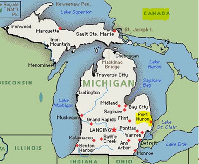Map Of Michigan And Ontario Canada Michigan Map - Map of canada and northern us