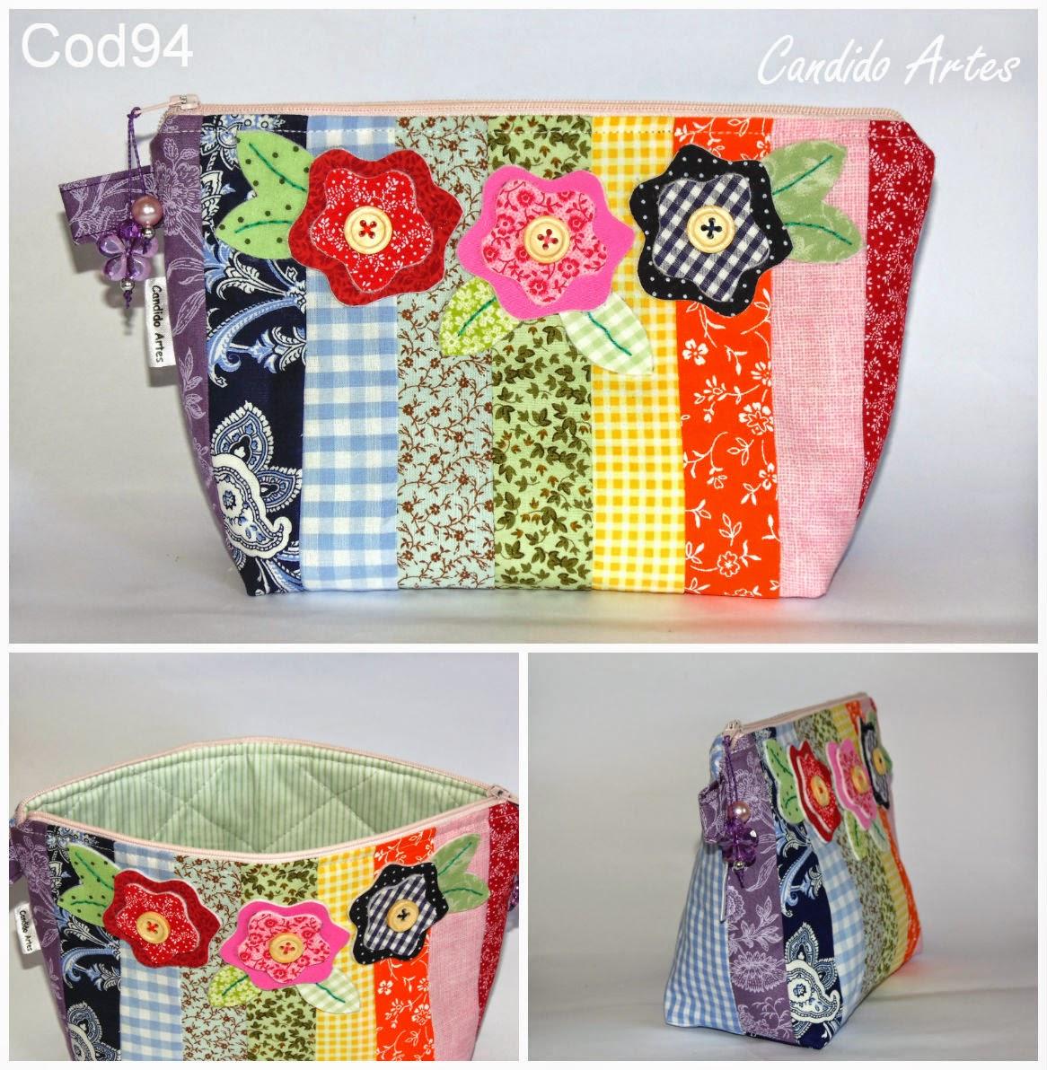 Armario Retro Pequeno ~ Artesanato Candido Artes Necessaire em patchwork colors com aplique de flor