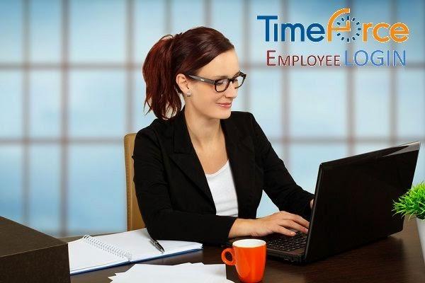 A beautiful lady employee login in TimeForce online