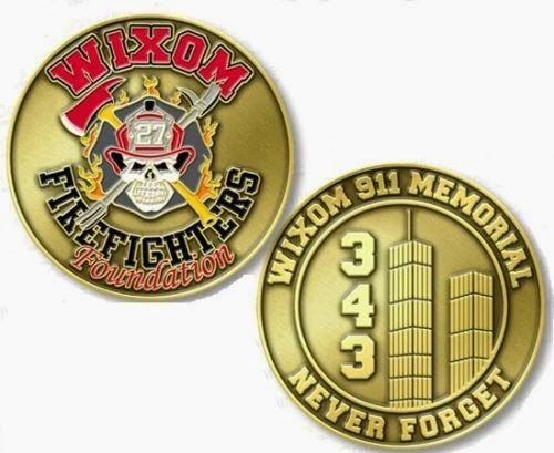 Wixom Firefighters Foundation 9/11 Memorial Challenge Coin 343