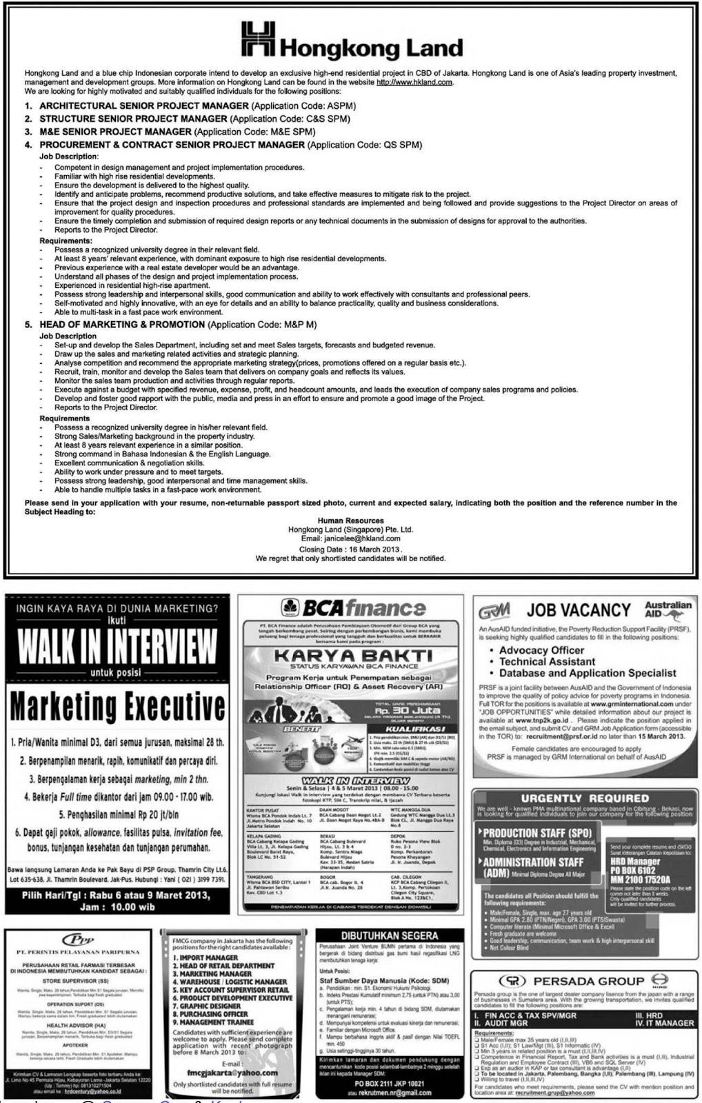 Berikut Lowongan kerja yang dimuat di koran kompas Sabtu 2 Maret 2013.