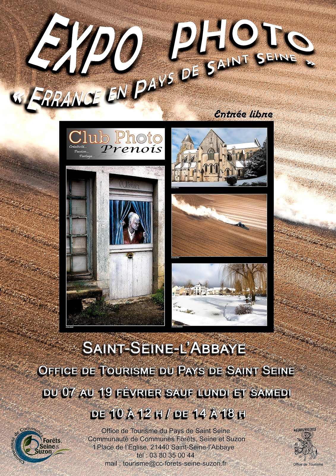EXPO PHOTO A SAINT SEINE L'ABBAYE  DU 7 AU 19 FEVRIER A L'OFFICE DE TOURISME