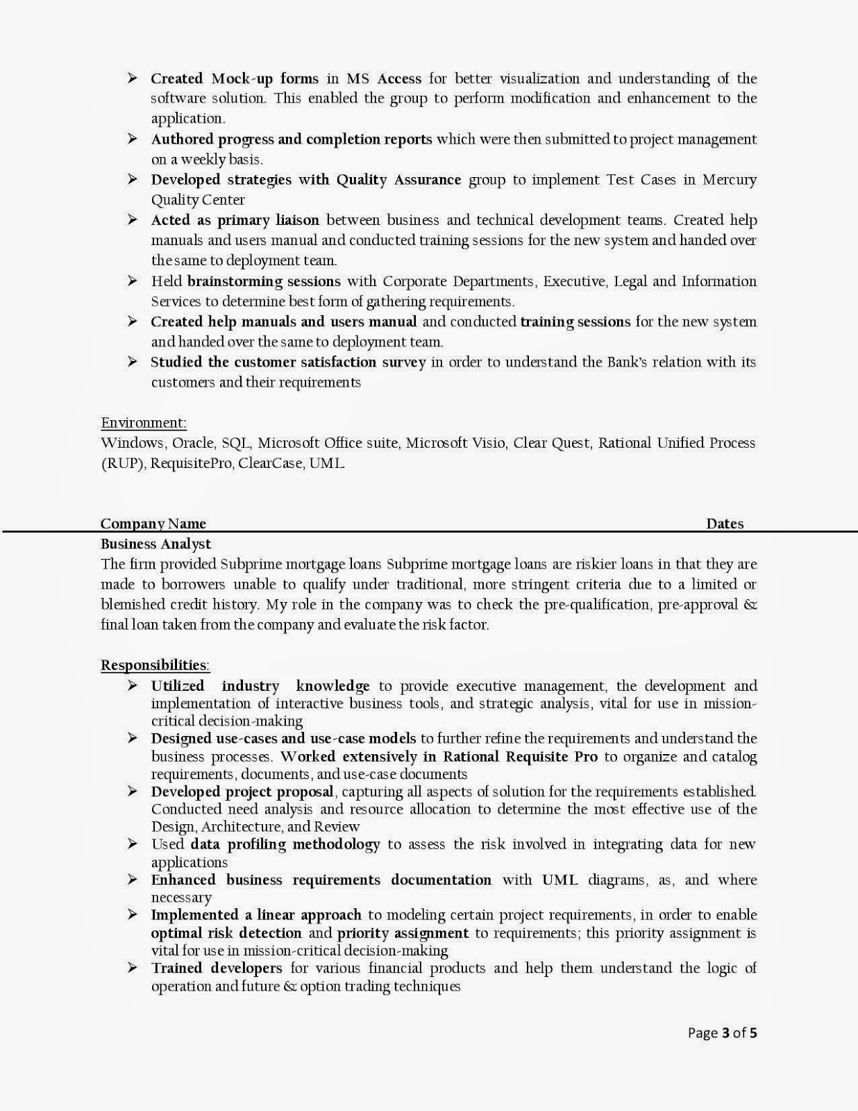 business analyst resumes - It Business Analyst Resume Sample