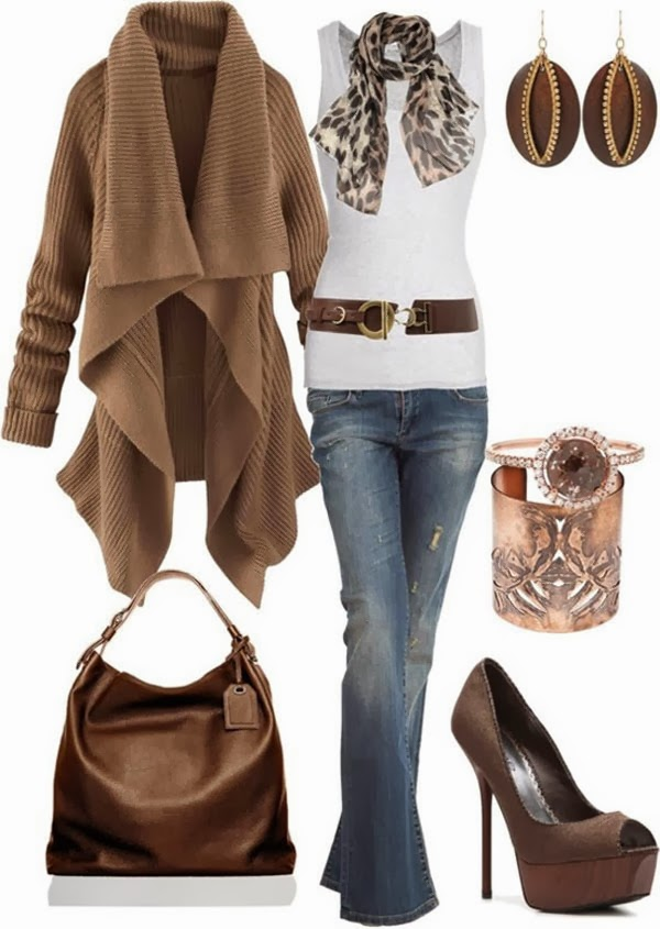 Gorgeous Brown Long Sweater and White Blouse, Scarf, High Heel Shoes, Jeans and Handbag