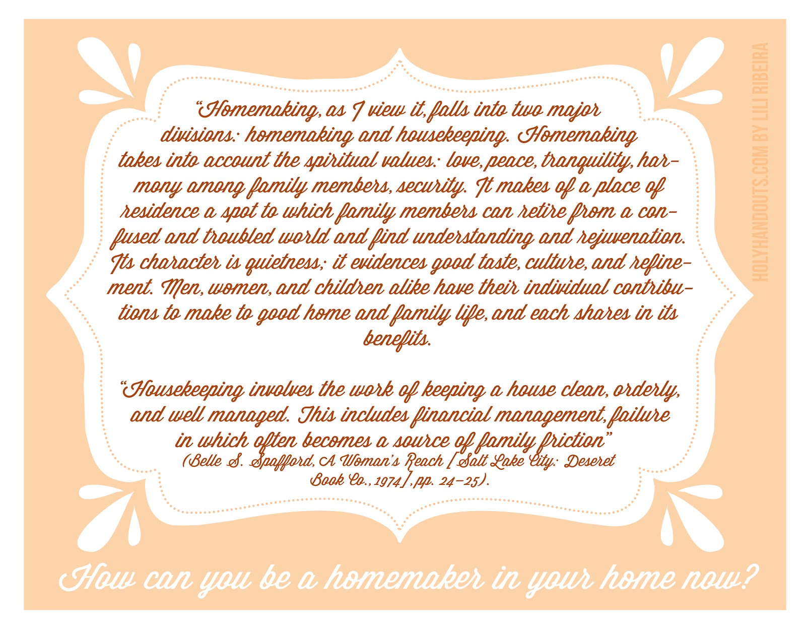 Holy Handouts Young Women Lesson 7 Homemaking