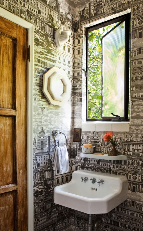 Wallpaper on pinterest wallpapers map wallpaper and for Wallpaper for small powder room