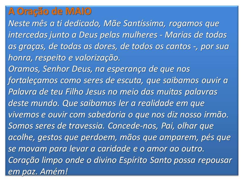 A Oração de MAIO