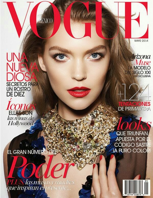 Arizona Muse poses for two covers of Vogue Mexico May 2014 issue
