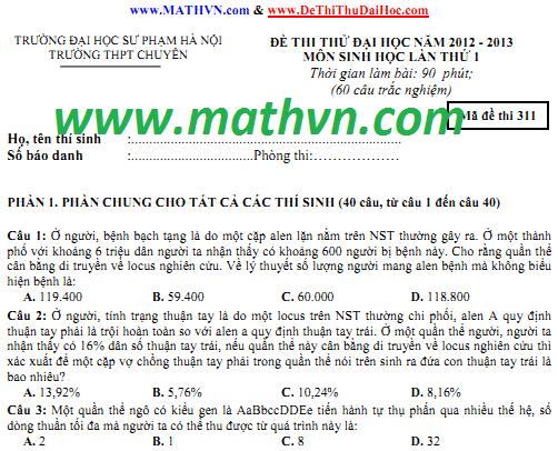 de thi thu dai hoc mon sinh 2013 co dap an, chuyen dhsp ha noi