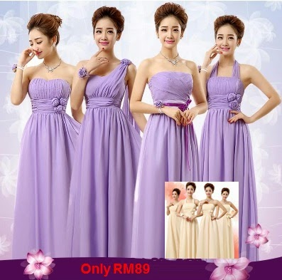 Only RM89 Four-Design Purple/Cream Chiffon Bridesmaids Maxi