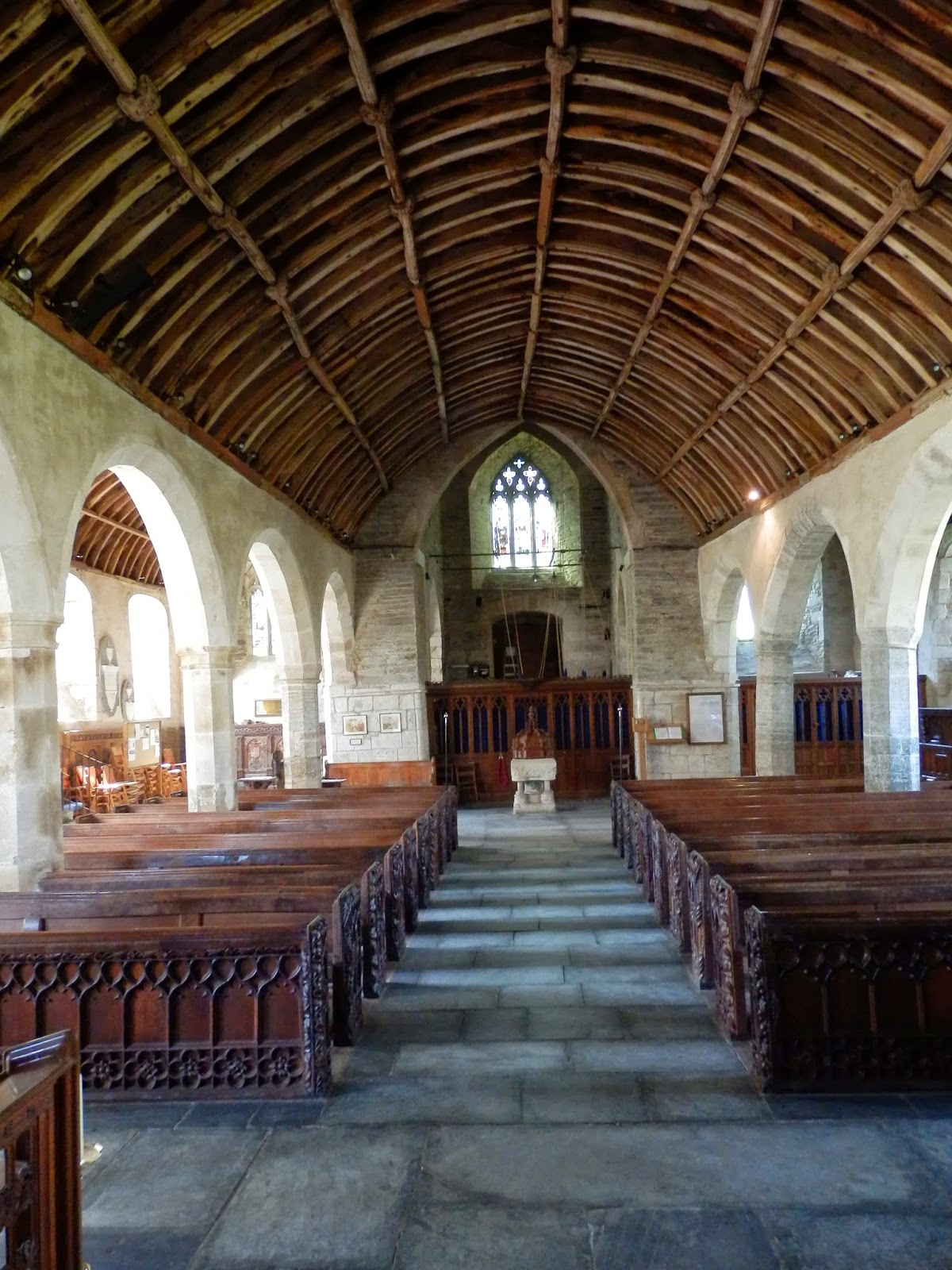 Inside church at Lanteglos, Cornwall