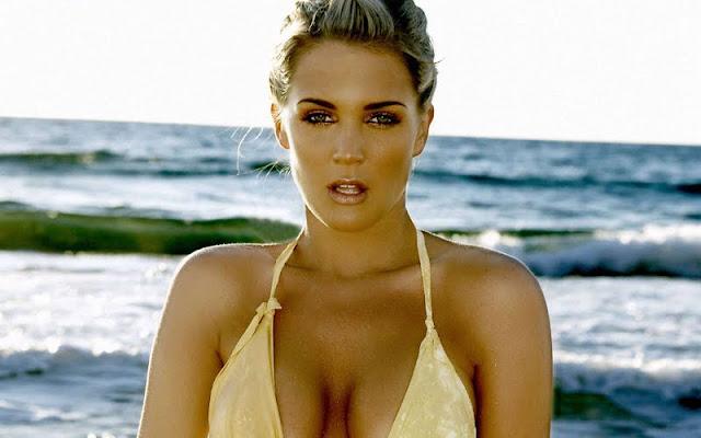 Danielle Lloyd sexy in yellow swimsuit  fashion