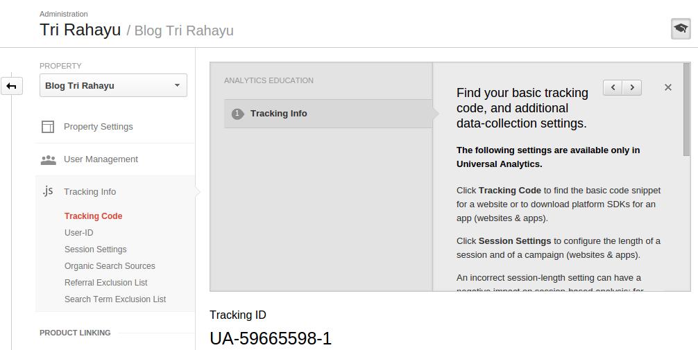 halaman admin google analytics