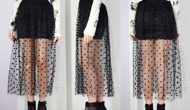 Front, side, and back views of the black sheer mesh polka dot maxi skirt from Dresslink.