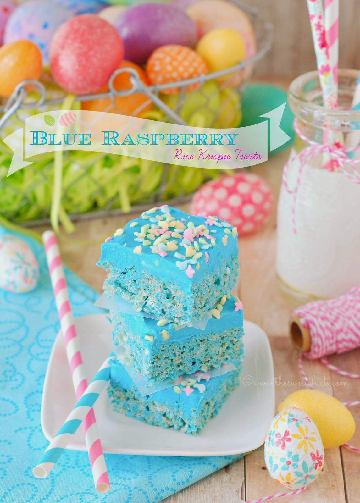 Blue Raspberry Rice Krispie Treats by The Sweet Chick