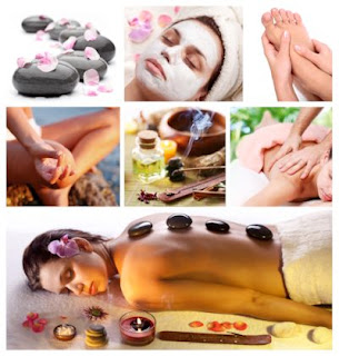 Fotos de una chica en el spa tomando un masaje de relax con aceites aromáticos