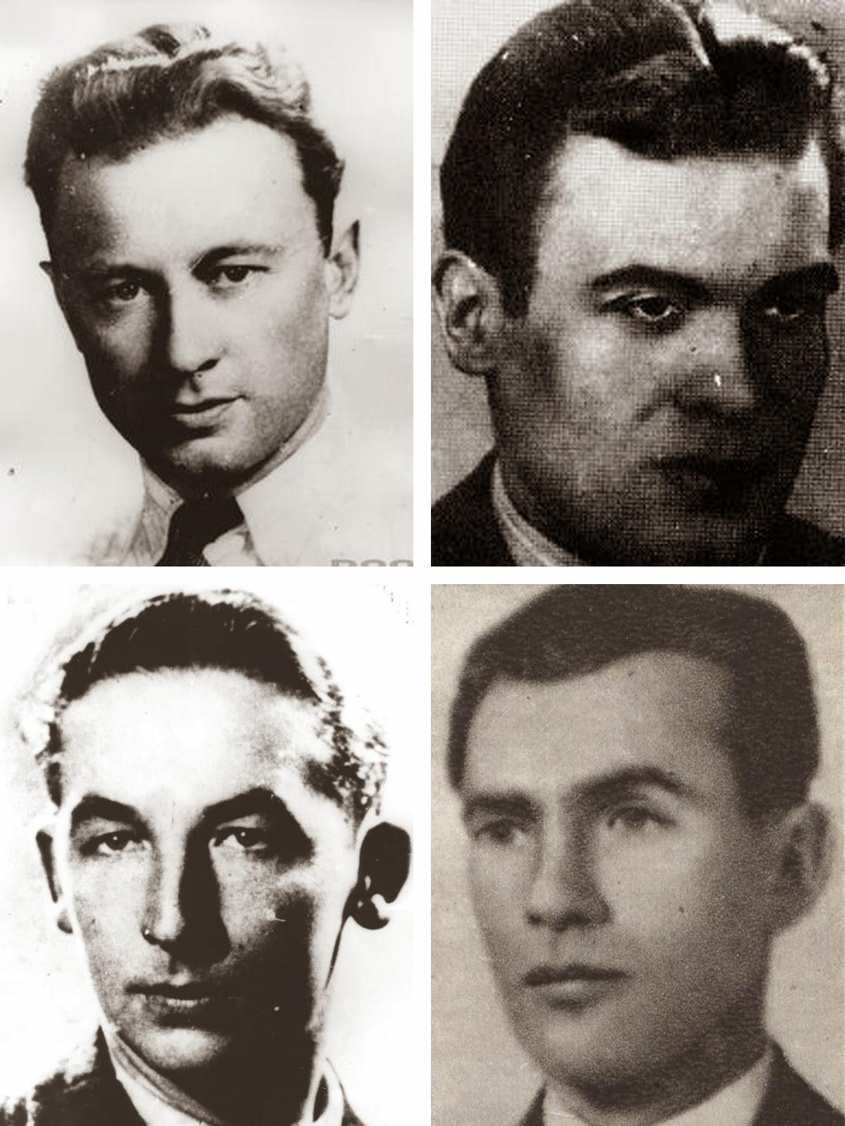 Uczestnicy zrzutu koło Końskich 30/31 marzec 1942 (brakuje fotografii Stefana Majewicza ps. Hruby i Piotra Motylewicza ps. Krzemień). Biogramy cichociemnych dostępne są w Wikipedii. Foto. NAC i Wikipedia.