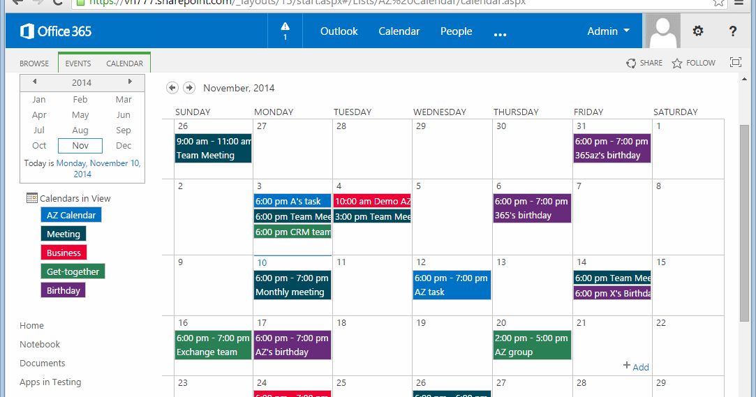 Color code sharepoint calendar sharepoint 365 - Formation administration office 365 ...