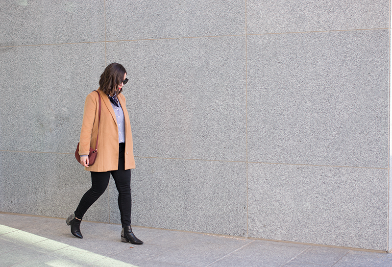 How to wear a camel coat, via Revolve